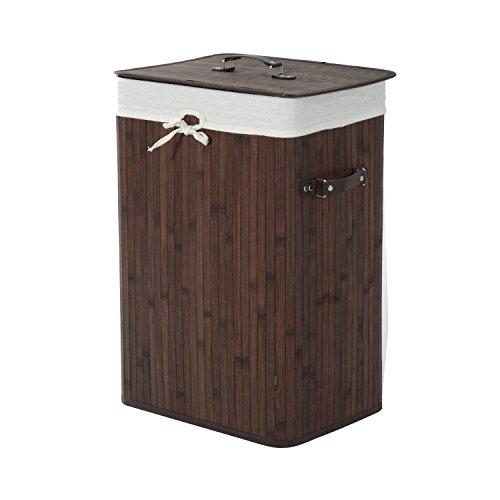 HOMCOM Wäschekorb Wäschebox Wäschesammler mit Deckel Segeltuchsack faltbar Segeltuch + Bambus Dunkelbraun 72L 40 x 30 x 60 cm