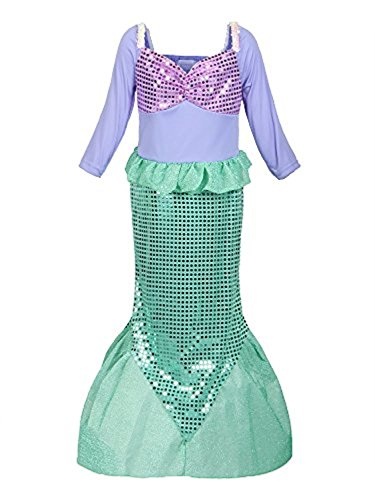 Yigoo ELSA Kleid Eiskönigin Prinzessin Kostüm Kinder Glanz Kleid Mädchen Weihnachten Verkleidung Karneval Party Halloween Fest, 130 (Körpergröße 115-125), Grün