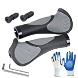 Bicycle Handlebar Grips Mountain Bike Ergonomic Anti-Slip with Bar Ends Screw Pair, Upgrade Comfortable Soft Rubber Handle Grip for Men Women MTB Rode Cycling Foldable Bikes (1 Pair without Horns)