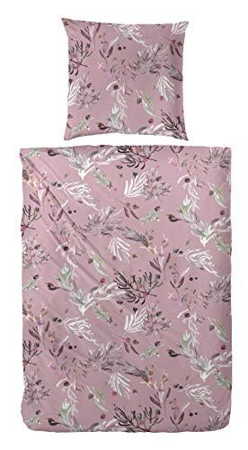Hahn Flannelette Winter Bed Linen 135 x 200 cm Grass Leaves Flowers Dusky Pink 173069-25