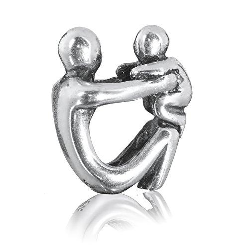 """Andante-Stones - Original, Cuenta de Plata de Ley 925 sólida, """"Padres"""", símbolo Vintage, Elemento Bola para Cuentas European Beads + Saco de Organza"""