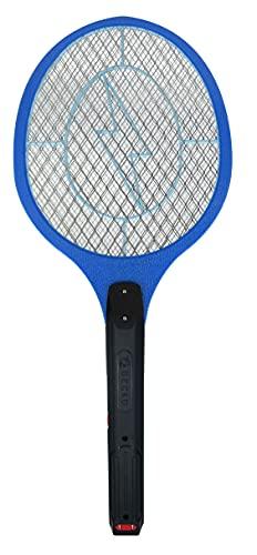 Raqueta GECKO eléctrica mata mosquitos, moscas - Recargable con clavija para pared - Eliminación libre de pesticidas y radiaciones - Con botón de accionamiento e interruptor de seguridad