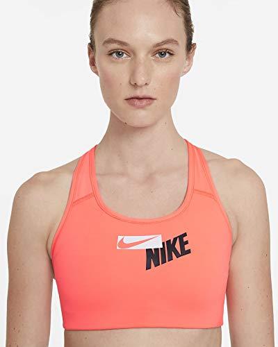NIKE CZ4443-854 W NK Swoosh Logo Bra Pad Sports Bra Womens Bright Mango/Dark Raisin/(White) XL