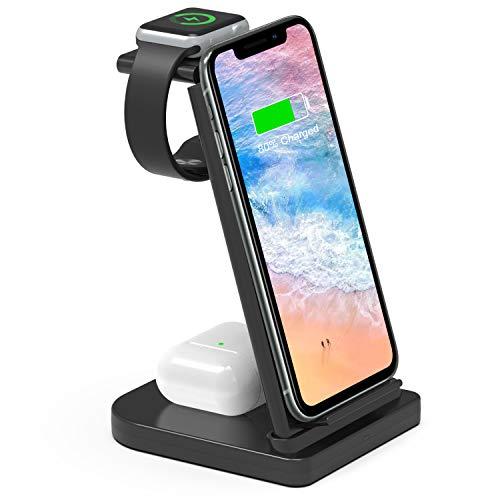 ワイヤレス充電器 3in1充電器 急速充電 充電スタンド 置き型充電器 ワイヤレスチャージャー QI認証済み 5W/7.5W/10W出力 iPhone/Watch/Airpods その他Qi対応機種適用 家族用 ブラック