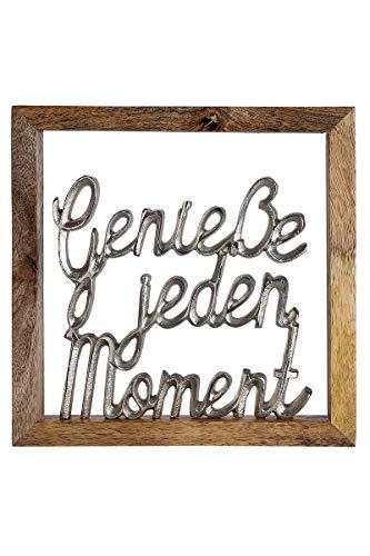 GILDE Wandbild Genieße jeden Moment Mangoholz Höhe 20 cm Silber, Wanddeko, Geschenk