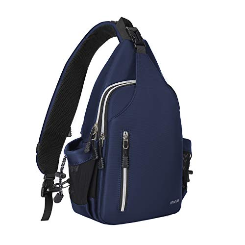 MOSISO Sling Backpack Double Layer Hiking Daypack Men/Women Chest Shoulder Bag, Navy Blue