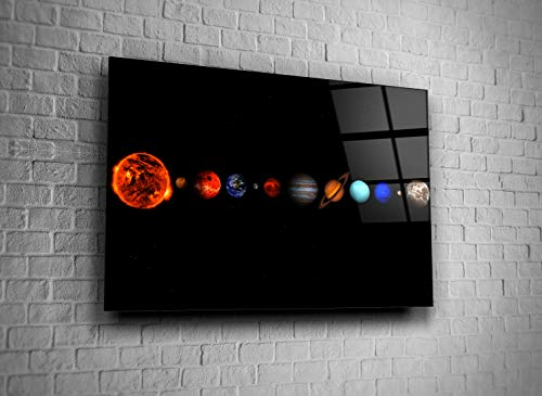 Solar System Planets Space Decor Print Glass Wall Art Tempered Glass Gift