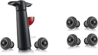 Vacu Vin Wine Saver Pump, Black with 6 Vacuum Bottle Stoppers