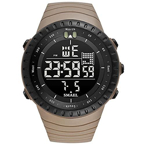SMAEL Deportivo LED Reloj Digital De Cuarzo con Correa De Grande Multifunción Alarma Cronómetro Calendario Waterproof Wrist Watch para Hombre Chico,Caqui