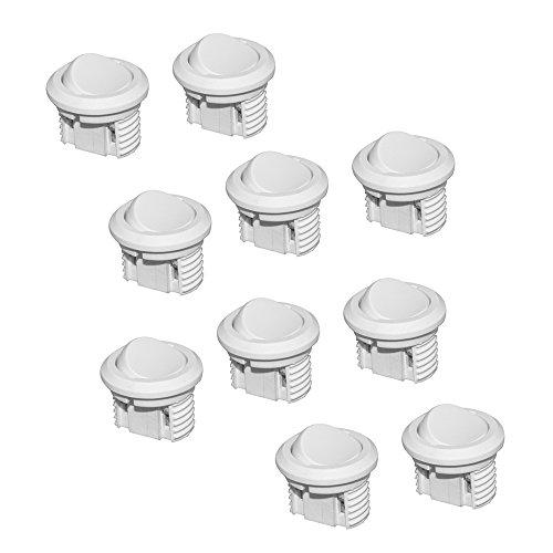 Emuca 5071015 Interruptor de botón basculante 2 posiciones ON-OFF, Blanco, Set de 10 piezas