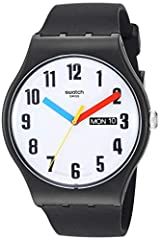 Originals new gent 2019 41 mm round plastic case with push/pull crown 3 bar water resistance Free battery exchange at Swatch retail locations 2 year warranty