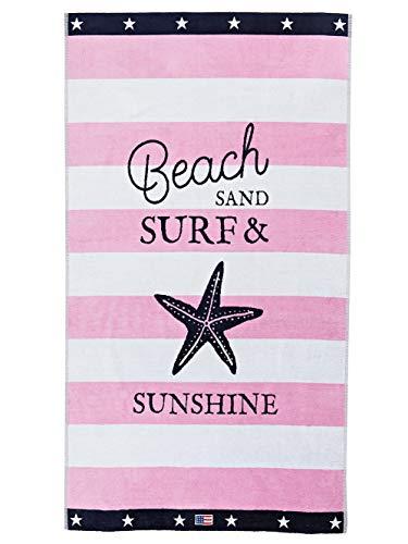 Lexington Toalla de Playa con Estrella, Algodón, Rosa/ Blanco, 180x100x0.2 cm
