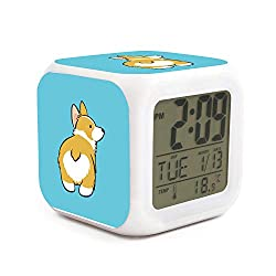 Kukuzql Special Design Funny Corgi 7 Colors LED Changing Digital Alarm Clock Desk Thermometer Night Glowing Cube LCD Clock Home Decor
