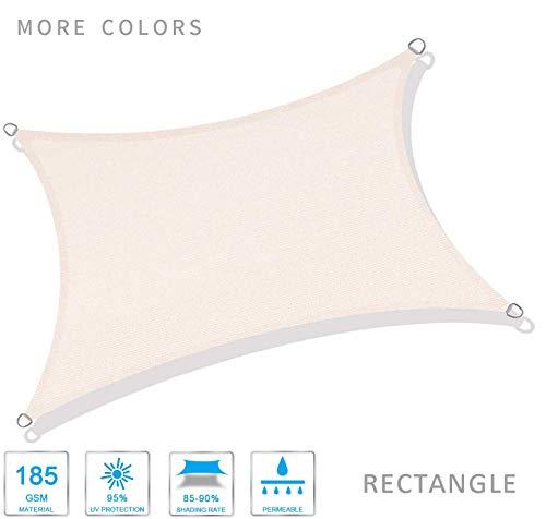 HYISHION Cool Area Voile d'ombrage rectangulaire Une Protection des Rayons UV, résistant et Respirant,Rectangular Beige,2 * 4m