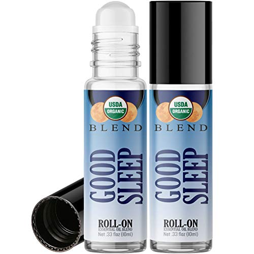 Organic Good Sleep Blend Roll On Essential Oil Rollerball (2 Pack - USDA Certified Organic) Pre-diluted with Glass Roller Ball for Aromatherapy, Kids, Children, Adults Topical Skin Application - 10ml