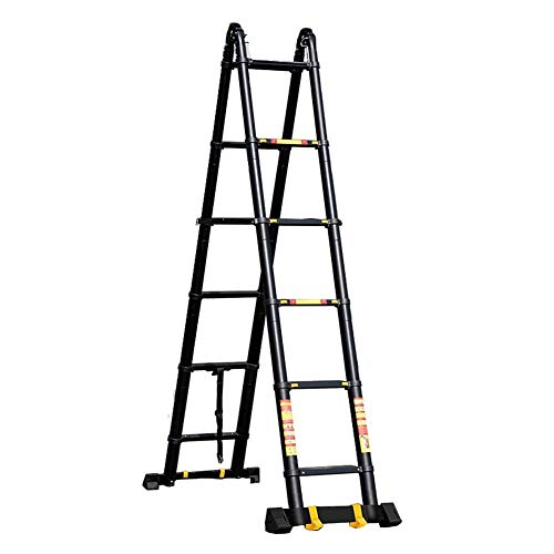 JJYGONG Escaleras Telescópicas 5 M, Antideslizantes, Portátiles, Portátiles Plegables de la Escalera Telescópica de Aluminio de Alta Resistencia, Capacidad de 330 Libras, Negro 5.6-9