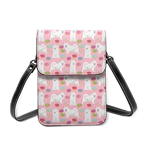 best& Food Samoyeds Dog Womens Phone Bag Purse, Small Cross Body Shoulder Bag window for Smartphone - 15 cm