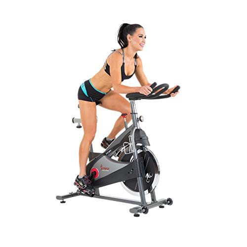 Sunny Health & Fitness Spin Bike Indoor Cycling Exercise Bike with SPD pedals - SF-B1509C