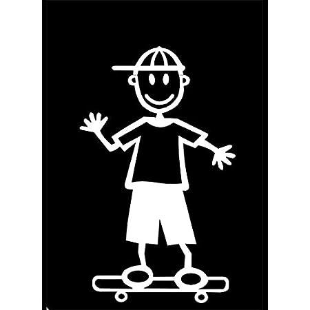 My Stick Figure Family Familie Autoaufkleber Aufkleber Sticker Decal Kleine Jungen Mit Skateboard Sb5 Auto