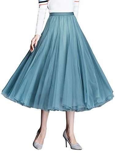 Falda de tul Midirock para mujer y niña, línea A, cintura alta y elástica, dobladillo grande, princesa azul 40
