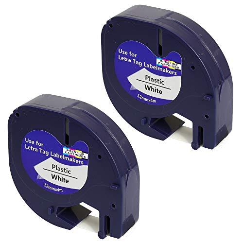 Prestige Cartridge 2 Casetes de Cinta compatibles con Dymo LetraTag 91201 S0721610 S0721660 Negro sobre Blanco 12mm x 4m para DYMO LetraTag LT110T, LT100H, LT100T, QX50, XR