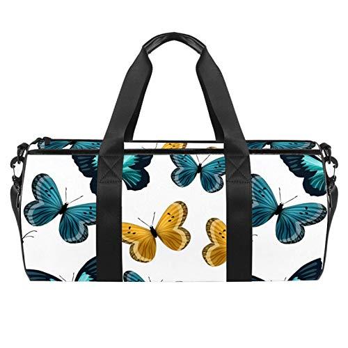 Bolsas de playa de viaje, gran deporte gimnasio durante la noche, bolsa de hombro con estampado de mariposas azul marrón con bolsillo seco y húmedo
