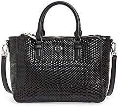 Tory Burch Robinson Double Zip Woven Leather Multi Tote Black Leather Bag
