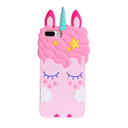 Liangxuer Pink Unicorn for iPhone 7 Plus 8 Plus Soft 3D Silicone Case,Cute Animal Rubber Cover,Cool Kawaii Cartoon Gel Cases for Girls Kids.Fun Unique Sweet Character Skin Protector Shell for 8Plus