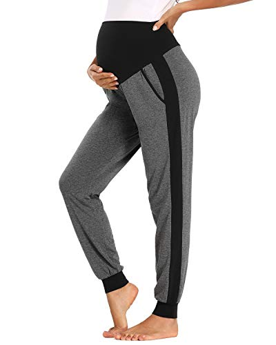 Love2Mi Pantalones de ocio para embarazadas, maternidad, cómodos, elásticos. gris oscuro/negro XL