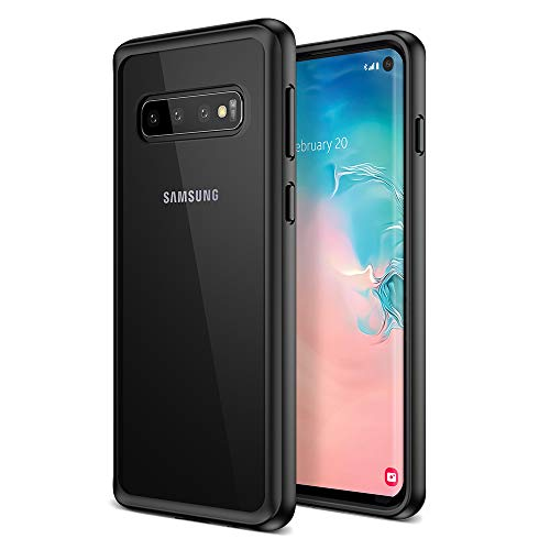 Maxboost Galaxy S10 Case HyperPro Series with Heavy Duty GXD-Gel Protection [Black/Clear] [PowerShare Friendly] Enhanced Hand-Grip TPU Cushion Frame Clear Hybrid Cover for Samsung Galaxy S 10 (2019)
