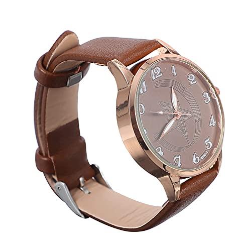 KDMB Reloj de Moda 1pc Reloj de Pulsera de Moda para Mujer Reloj de Cuero de Estrella de Cinco Puntas conciso