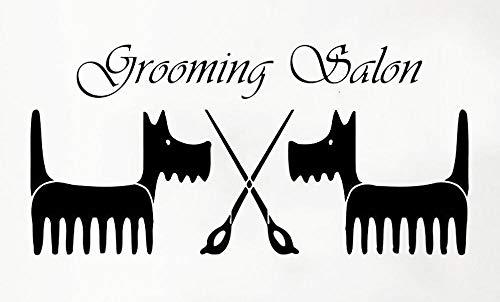 Axlgw Grooming Salon Muursticker Huisdier Shop Huisdecoratie Cartoon Patroon Hond Schaar Waterdichte Vinyl Shop Venster Muursticker Grootte 57X27Cm