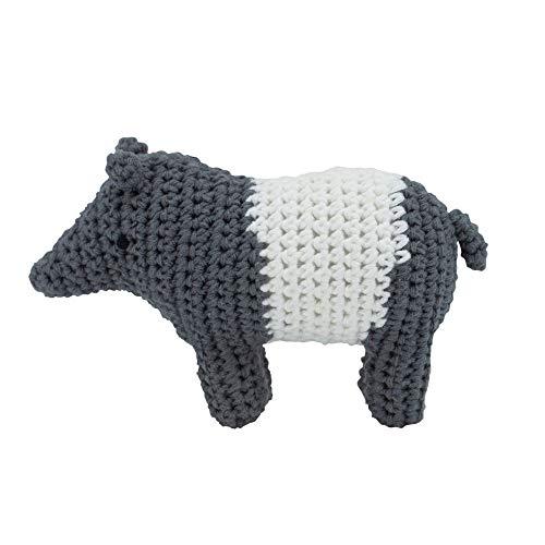 Sebra - Tip der Tapir - Häkel-Rassel - Baumwolle - Grau/Weiß - (BxH) 11,5 x 8cm