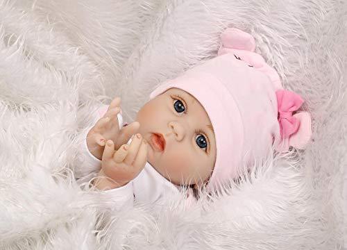 """iCradle 22"""" Realistische Reborn Baby Puppe Neugeboren Weiches Vinyl m?dchen Silikon Lebensecht Puppe Handgemachtes Spielzeug Geburtstagsgeschenk Kuscheltier"""