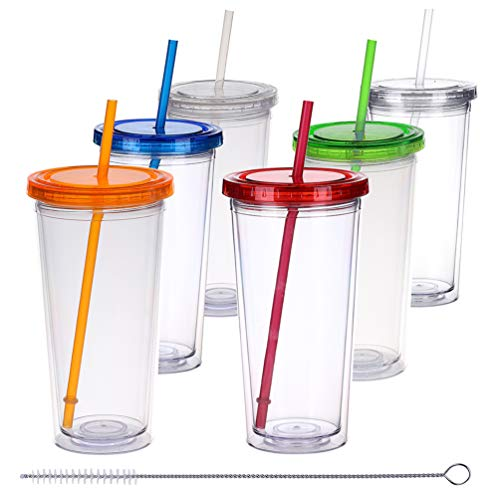 H&F Tumblers with Lids and Straws, 22oz Double Wall Plastic Tumblers, Reusable Cup with Straw - Insulated Tumbler Bottles, BPA Free Pack of 6