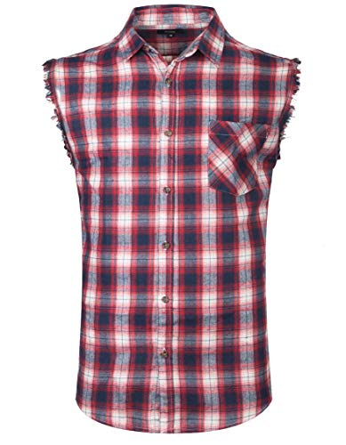 Men's Button Down Sleeveless Plaid Shirt Casual Flannel Cut Off Shirt for Men Cotton Plus Size Vest Western Shirt-L
