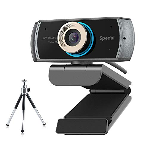 Webcam with Tripod,Live Streaming Webcam 1080P, HD Webcam Computer Laptop Web Camera for OBS Xbox XSplit Skype Facebook, Compatible for Mac OS Windows -Tripod Included