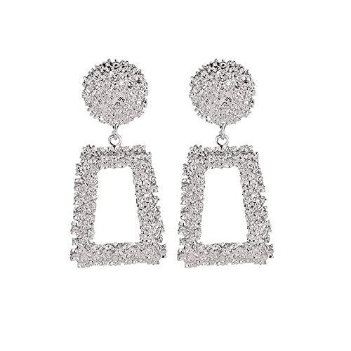 SO-buts Geometrische Ohrringe,Damen Anhänger Ohrringe,Lange Ohrringe aus Metall,Matte Trend Trapezförmige Ohrringe (Silber)