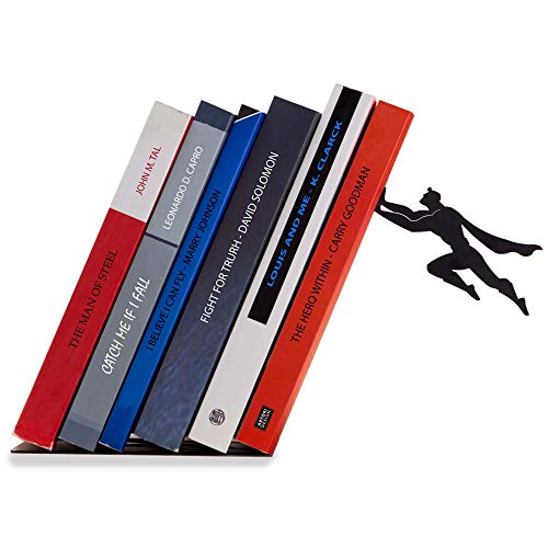 Artori Design Decorative Bookends for Shelf or Desk - Black Metal Book Ends - Superhero Bookend -...