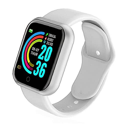 FeelMeet Reloj Deportivo de Gran Pantalla de la Prueba de frecuencia cardíaca Resistente al Agua Y68 Reloj Inteligente para los Hombres y Las Mujeres compatibles con el Blanco de Andriod iOS