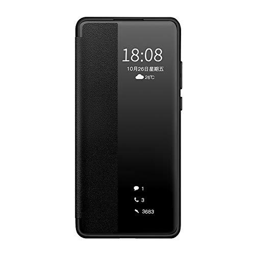 QLTYPRI Funda para Huawei P30 Pro, Smart View Case PC Bumper con función inteligente de encendido y apagado a prueba de golpes, antiarañazos, compatible con Huawei P30 Pro, color negro