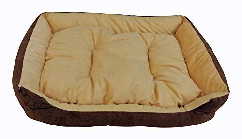 Hundebett Tierbett Schlafplatz Hundekorb Hundesofa Hundedecke Hundekissen Katzenbett Katzenkorb Katzensofa Katzendecke Kissen Korb Tiersofa inklusive Wendekissen Größe ca. 60 x 45 cm braun (PB1)