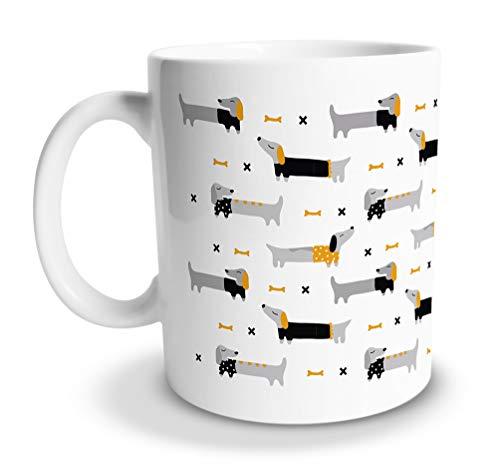 tassenprinter Dackel-Tasse/Hunde-Tasse 300ml Keramik Kaffee-Tasse als Geschenk für Hunde-Fans Mamas und Liebhaber lustige und süße Motive Weihnachten Geburtstag (Dackel-Muster)