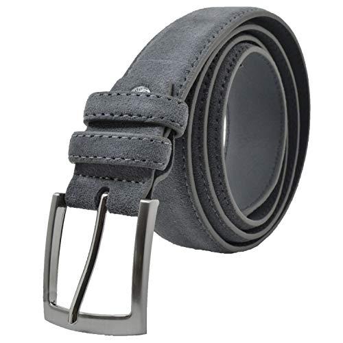 GRESEL Damen und Herren Wildleder Gürtel, Echtes Leder, Made in Italy, Kürzbar Grau 115 (Größe 50-52)