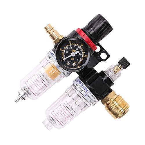 MorNon Filtro de Separación de Agua Compresor de Filtro de Aire Procesador de Fuente de Aire Regulador de Filtro 1/4 Negro