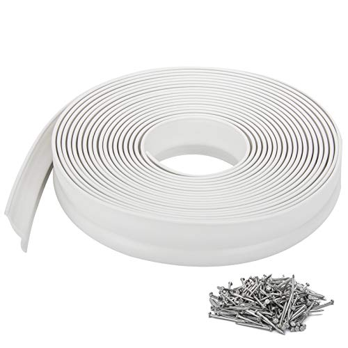 Garage Door Top and Sides Seal 32.8 Feet Weatherproofing Universal Rubber Weather Sealing Strip Professional Included Nails, White