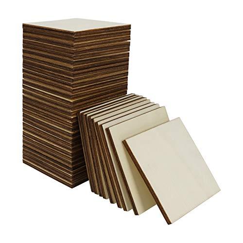 BELLE VOUS Quadrati Legno Grezzo (Set da 60) - Pezzi di Legno Quadrati 7,5 x 7,5 cm - Fette di Legno Quadrato per Sottobicchieri Legno, Fai-da-Te, Pittura e Pirografia e Decoupage Legno da Decorare