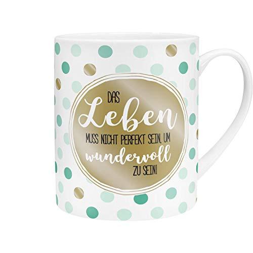 GRUSS & CO Die Geschenkewelt 45758 XL Kaffee Spruch, Das Leben muss nicht perfekt sein, Porzellan, 60 cl, mit Geschenk-Banderole Tasse, Gold