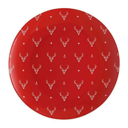AMBITION Teller Winter 20 cm Porzellan rot Rentiere weiß Dessertteller Weihnachten Gift (Teller)