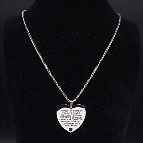 NC110 Collar con Colgante Joyas Hombres/Mujeres de Acero Inoxidable Joyas con Corazón de Color Plata YUAHJIGE